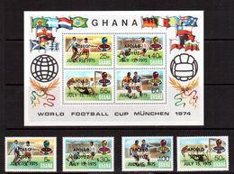 Ghana-1975,(Mi.597-600,Bl.60) ,Football, Soccer, Fussball,calcio,MNH, - Coppa Del Mondo
