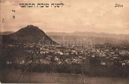 T2 Déva, Látkép Héber újévi üdvözlő Felirattal. Laufer Vilmos Kiadása / Panorama View With Hebrew Text, Jewish New Year  - Postcards