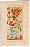Postcard, Carte Postale, Embroidery By Hand Broderie, Bonne Fête (41964) - Brodées