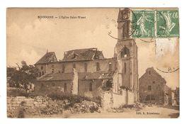 02 - CPA MILITARIA SOISSONS L'ÉGLISE SAINT WAAST ( RUINES ) - ÉDITION BRUNETEAUX - 2 Scans - Soissons