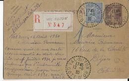 1930 - SEMEUSE - CARTE ENTIER RECOMMANDEE De VAL SUZON (COTE D'OR) => DIJON - 1921-1960: Moderne