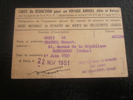 TITRE TRANSPORT CARTE IDENTITÉ ATTESTATION TRAVAIL RÉDUCTION VOYAGES ANNUELS PARIS LYON-Société Nationale Chemins De Fer - Abonnements Hebdomadaires & Mensuels