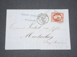 FRANCE - Lettre De Toulouse Pour Montauban En 1855 , Affranchissement Napoléon 80c - L 13253 - Postmark Collection (Covers)