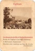 UN DIMANCHE DE FETE A MORIJA LESSOUTO EGLISES  CARTE FORMAT 11 X 7.50 CM DOS VIERGE - Cartes Postales