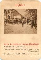 SORTIE DE L'EGLISE A LUKONA ZAMBEZE  EGLISES  CARTE FORMAT 11 X 7.50 CM DOS VIERGE - Cartes Postales