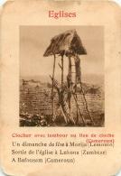 CLOCHER AVEC TAMBOUR AU LIEU DE CLOCHE CAMEROUN   EGLISES  CARTE FORMAT 11 X 7.50 CM DOS VIERGE - Cartes Postales
