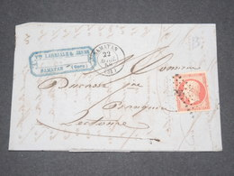 FRANCE - Lettre De Samatan Pour Lectoure En 1858 , Affranchissement Napoléon 80c - L 13260 - Storia Postale