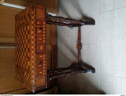 Petite Table à Jeu Marquetée XIXe - Damier,4 Tiroirs - Meubles