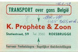 Visitekaart - Carte Visite - Vervoer K. Prophète & Zoon - Roesbrugge - Cartes De Visite