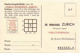 Pub Reclame Kaart Horloges Zurich - Brussel - Publicités
