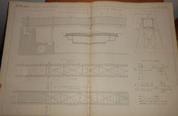 Plan De La Passerelle Américaine Provisoire Du Pont Saint-Michel à Paris. 1858 - Travaux Publics