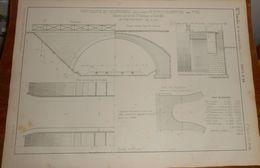 Plan D'un Pont Route En Maçonnerie De 12 M D'ouverture. Chemin De Fer De Saint Rambert à Grenoble. 1858 - Travaux Publics