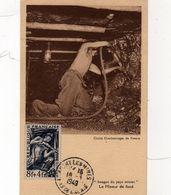 Mineur De Fond  Timbre N° 825  Oblitération  Auchy Les Mines Pas De Calais 18 -3 -1949 - Maximum Cards