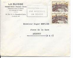 LOT 1802122-N° 1126 EN PAIRE SUR LETTRE DE PARIS DU 25 OCTOBRE 1957 POUR ANDRESY - FLAMME - PUBLICITE LA SUISSE - 1921-1960: Modern Period