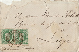 2 X 10 Centimes Liège Bourg Leopold Beverloo Liège - 1865-1866 Profil Gauche