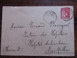50c Type Paix  Cachet Tirete De Plan De Baix Drome Sur Enveloppe 1934 - Marcophilie (Lettres)