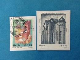 2005 ITALIA FRANCOBOLLI USATI TWO STAMPS USED - COMUNI ITALIANI ANCI + SANTUARIO S GIUSEPPE DA COPERTINO - 6. 1946-.. Repubblica