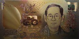 Billet Plaqué Or 24K  Thaïlande  50 Bath 2011  Le Roi Rama IX Bhumibol Adulyadej   NEUF - Autres - Asie