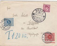 Tchécoslovaquie Lettre Taxée Brno 1937 - Covers & Documents