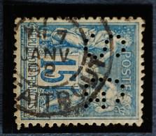 Sage N°90.Type Il Ob.( CAD) PARIS Rue Taitbout ( Bur 22 ) 7 Janv 1892 Perforé S G. - 1876-1898 Sage (Type II)