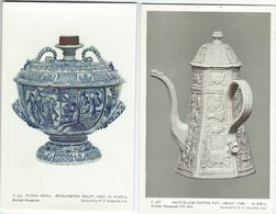 Salt-Glazed Coffe Pot & Punch Bowl.  . British Museum. 2 Cards.  S-4205 - Fine Arts