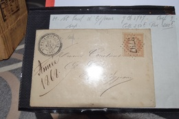 LETTRE AVEC TIMBRE  10C NIIIN°28B.CACHET A DATE CERCLE POINTILLÉ ST PAUL D,EYJAUX 24 SEPT 68   LOSANGE GROS CHIFFRE 3797 - 1863-1870 Napoleon III With Laurels