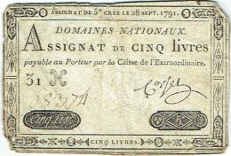 Assignat De Cinq Livres Créé Le 28 Sept. 1791. - Assignats & Mandats Territoriaux