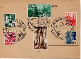 CARTE SOUVENIR PHILATELIQUE DE BADE Y&T 4-8-9-11-12-13 - CACHET ANGE - Zone Française
