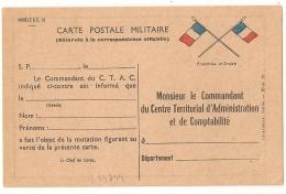 CARTE POSTALE MILITAIRE LE COMMANDANT DU C.T.A.C.. Modèle S.C. 10 - Cartes De Franchise Militaire
