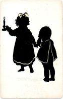Silhouetkaart Carte Silhouette Silhouet Card Kinderen Enfants Children Kindern Fantasie Fantaisie Fantasy Fantasia - Silhouettes