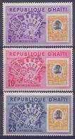 Rép.d'HAÏTI :1963: Y.499-501&PA263-65 Dentelés/neufs/MNH:## Inauguration De Duvalier-Ville ##: MAP,STAMP On STAMP, - Haïti