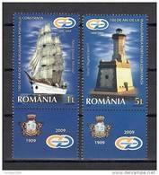 "Romania 2009 / Constanta Harbour - 100 Years Since The Inauguration Tabs 1 / ""Mircea"" Ship, ""King Carol I"" Lighthouse - Lighthouses"