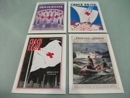 Serie Di 4 Cartoline Croce Rossa E Il Mare Esposizione Internazionale Colombo 92 Nave Ship Bandiera Simbolo Cofanetto - Croce Rossa