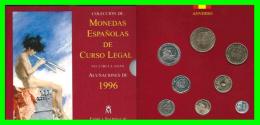 ESPAÑA COLECCIÓN CARTERA OFICIAL CON ESTUCHE FNMT AÑO 1996 ÚLTIMAS PESETAS 8 VALORES FDC (S/C) - Sets Sin Usar &  Sets De Prueba