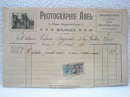 Photographe ABEL à Bourges / Agrandissement / Photographies Quittance Avec Timbre Fiscal 6 Photos Formats Visite 1921 - France