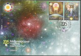SRB 2015-617-8 INTERNATIONAL YEAR OF LIGHT, SERBIA, FDC - Elektrizität