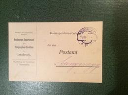 INNSBRUCK 1920 TELEGRAPHEN DIREKTION Seltenes Dienst-Postkarte Formular > Langenegg (Österreich Brief Telegraphie - 1918-1945 1. Republik