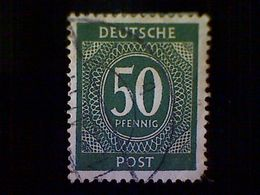 Germany, Scott #551, Used (o), 1946, Allied Occupation, Numerical Set,50pfs, Dark Olive Green - Bizone