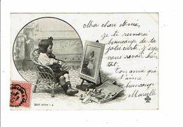 Cpa BEBE ARTISTE 4 Fillette Fauteuil Chevalet Peinture - Scenes & Landscapes