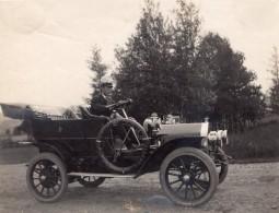 Chauffeur Dans Son Vieux Tacot Automobile Decapotable Ancienne Photo Amateur 1910's - Cars