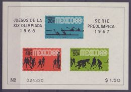 MEXICO :1967: Y.BF7,8,9,10 Not Dentelled/neufs/MNH: ## XIX Olympics 1968 – Series Preolympic 1967 ## :ROWING,BASKET-BALL - Ete 1968: Mexico
