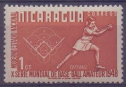 NICARAGUA :1949: Y.735 Dentelled/ Avec Très Légère Trace De Charnière/very Lightly Hinged :  BASE-BALL,SOFTBALL,HONKBAL, - Base-Ball