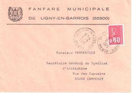 4357 55 LIGNY En BARROIS 55 Meuse Lettre Entête Fanfare Municipale Ob 8 3 1975 80 C Bequet Rouge Yv 1816 - Marcophilie (Lettres)