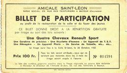 BILLET DE PARTICIPATION  -tombolat Loterie - BAYEUX 1952  Lot 4 Chevaux Renault - Lottery Tickets