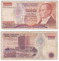 Turquía - Turkey 20.000 Lirasi 1988 (L 1970) Firmas En Negro Pick 201.a Ref 1488 - Turquia