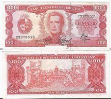 Uruguay 100 Pesos 1967 Pick 47.a.6 Ref 1494 - Uruguay