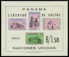 Panama, 1962, Freedom Of Religion, Churches, United Nations, MNH Imperforated, Michel Block 11 - Panama