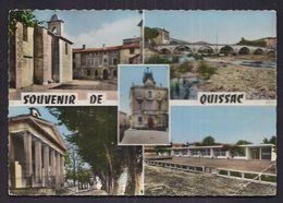 CPSM 30 - QUISSAC - SOUVENIR DE - TB CP Multivue Dont Pont , Centre Village , Temple , Groupe Scolaire , Etc... - Quissac