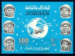 A10- Jordan 1965 Rare Imperf Miniature Sheet. Space. - Jordan