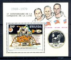 A19- Rwanda 1980 Apollo-11 10 Anniversary Of First Moon Landing. - Rwanda